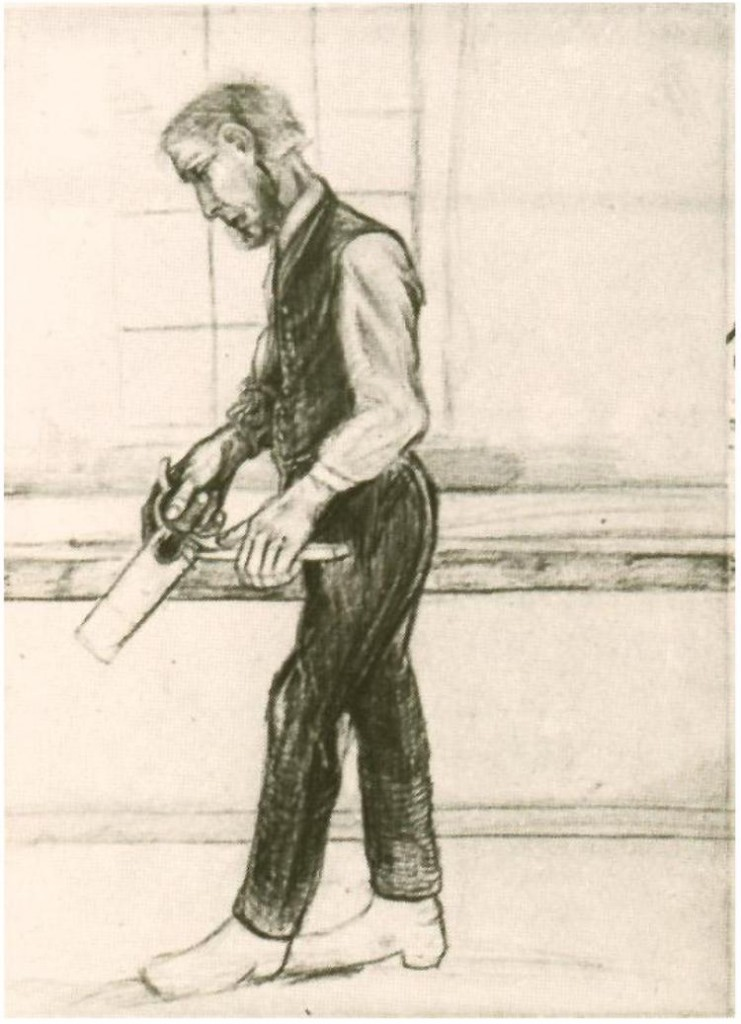 Drawing: Van Gogh's Man With Saw (he kept practicing)