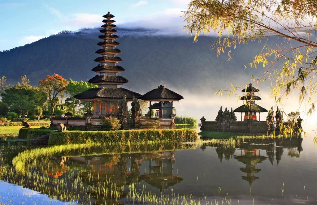 The Pura Ulun Danau Bratan Temple, located at Lake Bratan in village of Bedugul, in Bali, Indonesia.