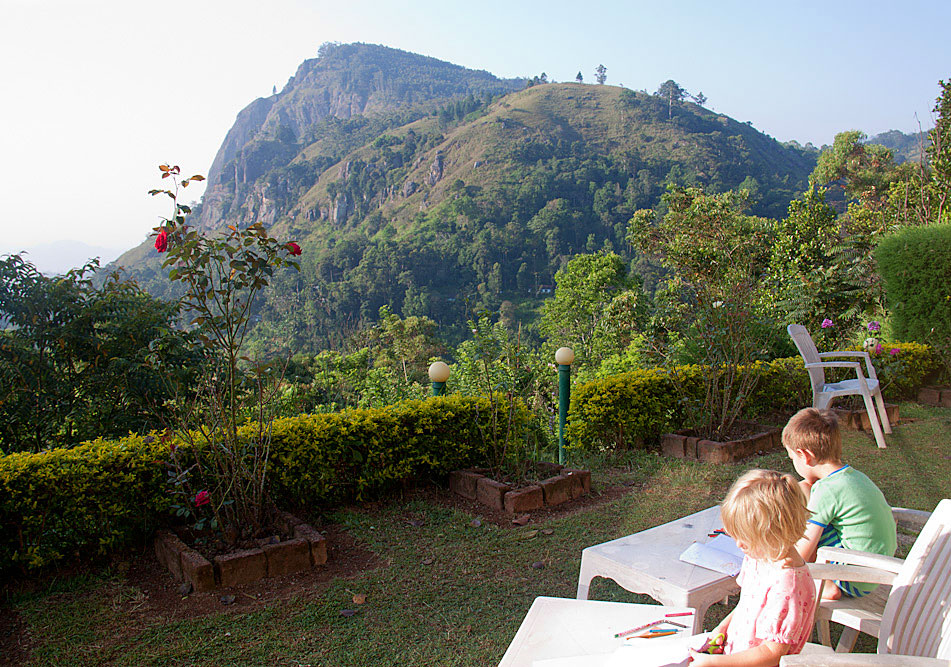 Hayley and Noah take some time to observe and draw in Sri Lanka.