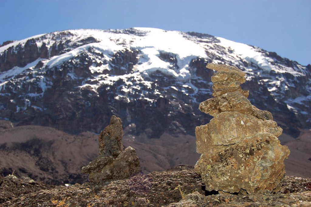 Rock statues left along the Machame route
