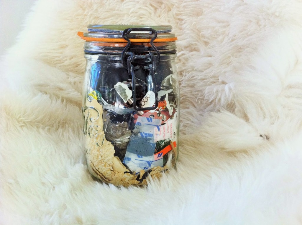The Johnsons total household waste in 2014 fit in a quart-sized jar; Image courtesy of Zero Waste Home